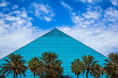 Blue Pyramid. The Aquarium Pyramid at Moody Gardens on Galveston Island, Texas Royalty Free Stock Photo