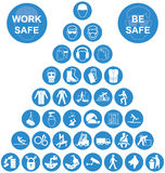 Blue Pyramid Health and Safety Icon collection. Blue and white construction manufacturing and engineering health and safety related pyramid icon collection on stock illustration