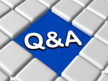 Blue q&a sign in boxes Stock Photography