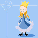 The Blue Queen. A little queen wearing a blue dress and a golden crown on a blue background. Illustration Royalty Free Stock Photography