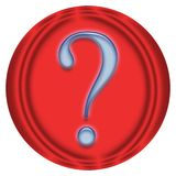 Blue question. Question mark, help on red button Royalty Free Stock Photos