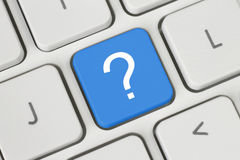 Blue question button Stock Photography