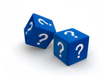 Blue Question Dice. Photo-real illusration of two blue dice engraved question mark symbols on white background Stock Photos