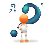 Blue Question mark. Cute 3d robot with blue question marks Royalty Free Stock Images
