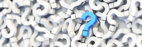 Blue question mark. On a background of white signs. 3D Rendering Stock Photo