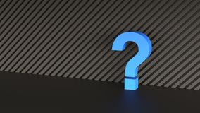 Blue question mark. On abstract black background. 3D Rendering Royalty Free Stock Image