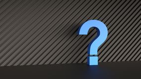Blue question mark. On abstract black background. 3D Rendering Royalty Free Stock Photos
