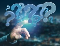 Blue question mark displayed on a futuristic interface - 3d rend Stock Images