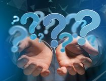 Blue question mark displayed on a futuristic interface - 3d rend. View of Blue question mark displayed on a futuristic interface - 3d rendering Stock Photography