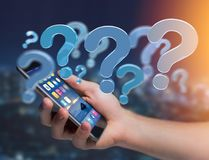 Blue question mark displayed on a futuristic interface - 3d rend Royalty Free Stock Photos
