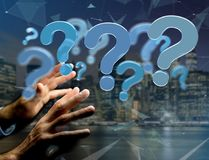 Blue question mark displayed on a futuristic interface - 3d rend Royalty Free Stock Images