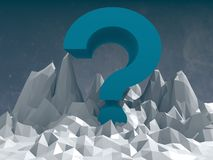 Blue question mark icon on low poly surface Royalty Free Stock Photography