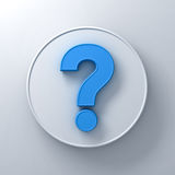 Blue question mark on round white signboard background Stock Images