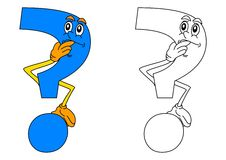 Blue question mark thinking as a coloring for little kids Stock Photos