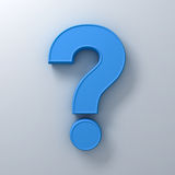 Blue question mark on white background abstract with shadow. 3D rendering Royalty Free Stock Photo
