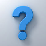 Blue question mark on white background abstract with shadow. 3D rendering Stock Images