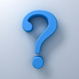 Blue question mark on white background abstract with shadow. 3D rendering Royalty Free Stock Photos