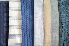 Blue quilt. Blue textured bedding quilted material / throw / quilt Stock Photography