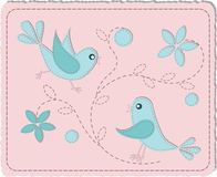 Blue quilted birds Royalty Free Stock Images