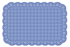 Blue Quilted Eyelet Lace Place Mat Stock Image