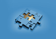Blue Quizz. A 3D puzzle composition consists of eight elegant blue puzzle pieces and the center one is gold, placed on a calm blue reflective background Royalty Free Stock Image