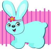 Blue Rabbit with Flower Headband Stock Image