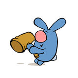 Blue rabbit with hammer Royalty Free Stock Photos