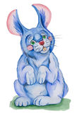 Blue rabbit. Illustration blue rabbit ,made watercolor . on white background Royalty Free Stock Photo