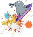 Blue rabbit and rocket. Cartoon Stock Photos