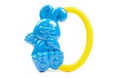 Blue rabbit shape baby rattle isolated on the white background Royalty Free Stock Photos