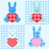 Blue rabbits cards Stock Photos