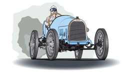 Blue race car. Opel racing car in the first half of the twentieth century Stock Image