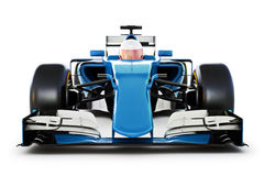 Blue Race car and driver front view on a white isolated background.Generic Stock Image