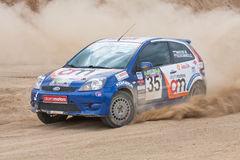 Blue race car Focus Fiesta Royalty Free Stock Photo