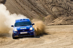 Blue race car Ford Focus at rally Stock Photo