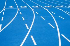 Blue Race Track Starting Line 2 Royalty Free Stock Photos