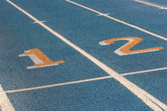 Blue racetrack. With lines and numbers Stock Photo