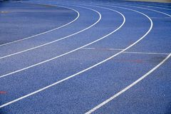 Blue racetracks with white markings. Specialized coating for running Royalty Free Stock Images