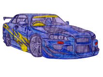 Blue racing car Stock Image
