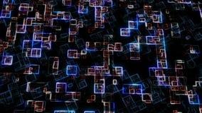 Blue and rad hexadecimal big data digital code. Futuristic information technology concept. Computer generated seamless stock illustration