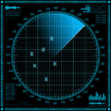 Blue radar screen. HUD interface. stock illustration
