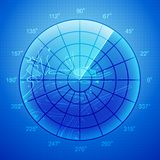 Blue radar screen. Royalty Free Stock Photography