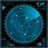 Blue radar screen with planes Royalty Free Stock Images