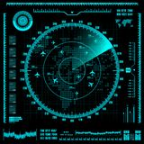 Blue radar screen with planes and world map. Vector EPS10. vector illustration