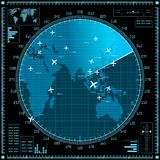 Blue radar screen with planes and world map Royalty Free Stock Image