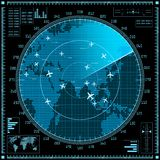 Blue radar screen with planes and world map vector illustration