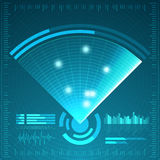 Blue radar screen. Vector illustration for your design. Technology background. Futuristic user interface. HUD. Stock Photo