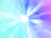 Blue radial abstract background. Bright shining sun with lens flare. Soft background with bokeh effect. Blue abstract background Stock Photo