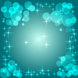 Blue radial gradient background with bokeh and stars. Vector  Royalty Free Stock Photography