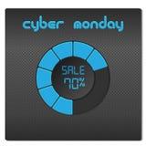 Blue radial progress bar on a dark hi-tech background. Stock Photos